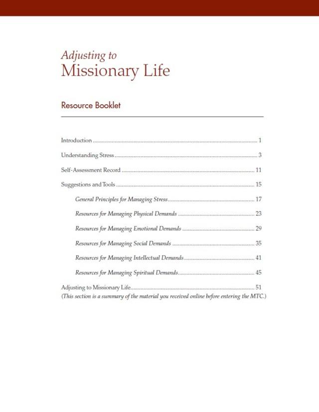 Adjusting to Missonary Life 1