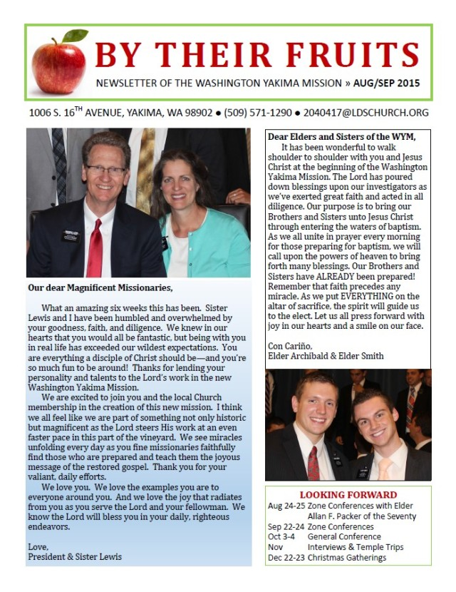 2015-8-27  Newsletter cover page