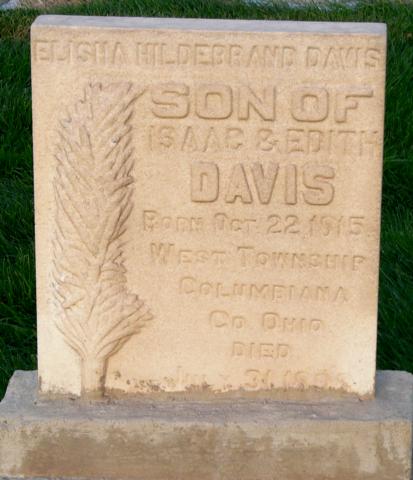 Davis, Elisha Hildebrand Sr  headstone