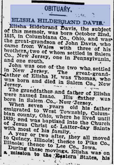Davis, Elisha obit 9 Aug 1898 DN 1