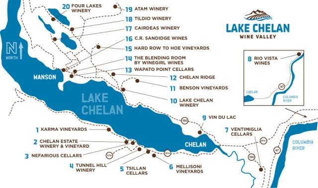 Chelan Winery map